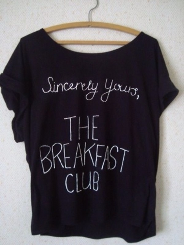 shirt the breakfast club t-shirt relaxed comfy black breakfast club movie t shirt 80s style movies cute cute shirt black shirt top blouse breakfast club shirt white black t-shirt 80s style clothes t-shirt breakfast club t shirt tumblr shirt graphic tee