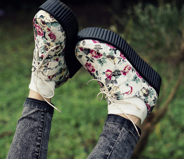 shoes creepers floral cute