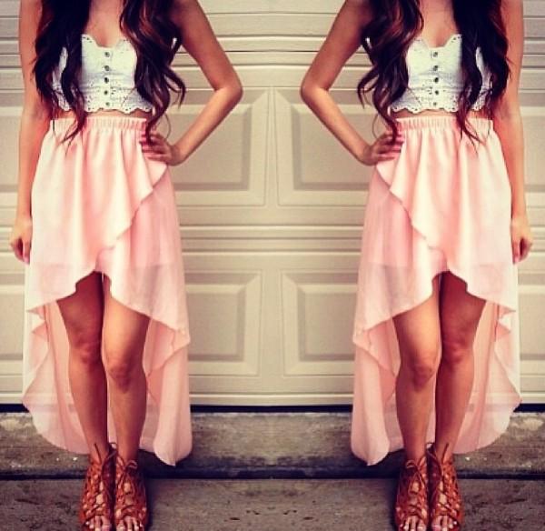 skirt pink hi low skirt tank top white