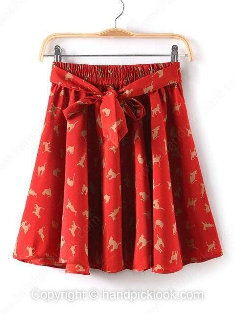Red Cat Print Chiffon Pleated Skirt - HandpickLook.com
