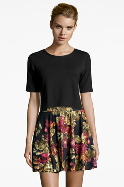 Sandy Floral Print Skater Skirt at boohoo.com