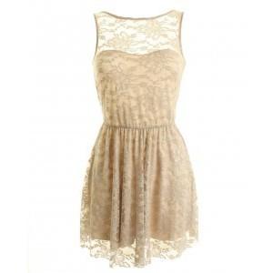 LOVE Beige V Back Lace Dress - Polyvore