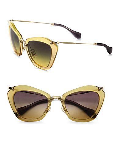 Miu Miu - Noir Catwalk Cat's-Eye Sunglasses - Saks.com