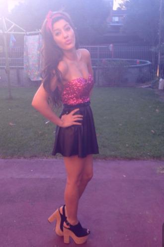 dress short sparkling dress sparkle mini dress leather pink glitter dress two tone black glitter cute short dress