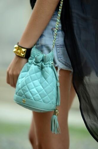 bag blue bag cute small bag tote bag fashion tiffany chanel