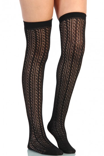 LoveMelrose.com From Harry & Molly | Lace Thigh High Socks - Black