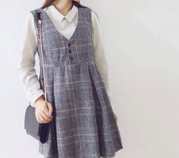 dress kawaii kfashion korean fashion asian fashion cfashion tokyo fashion blouse japanese fashion white blouse grey plaid plaid grey dress grey dress gray dresses cute style