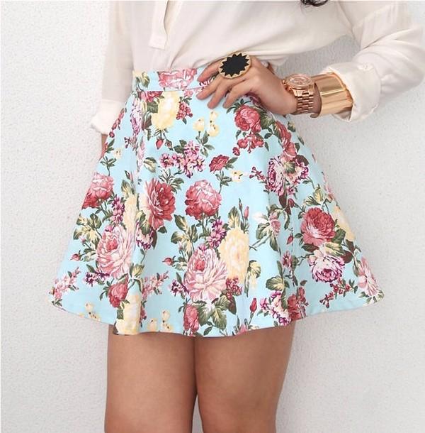 skirt blue flowers floral skirt floral skater skirt