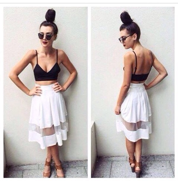 skirt white mesh panel midi skirt top