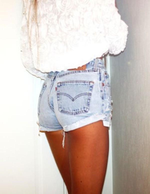 shorts light washed denim High waisted shorts jeans shirt