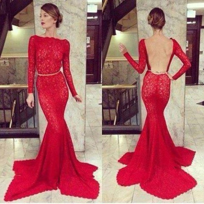 Aliexpress.com : Buy Fashionable Sexy Long Sleeves Lace Backless Mermaid Evening Dresses 2014 Red Appliques Long Prom Dresses from Reliable dress weight suppliers on 27 Dress