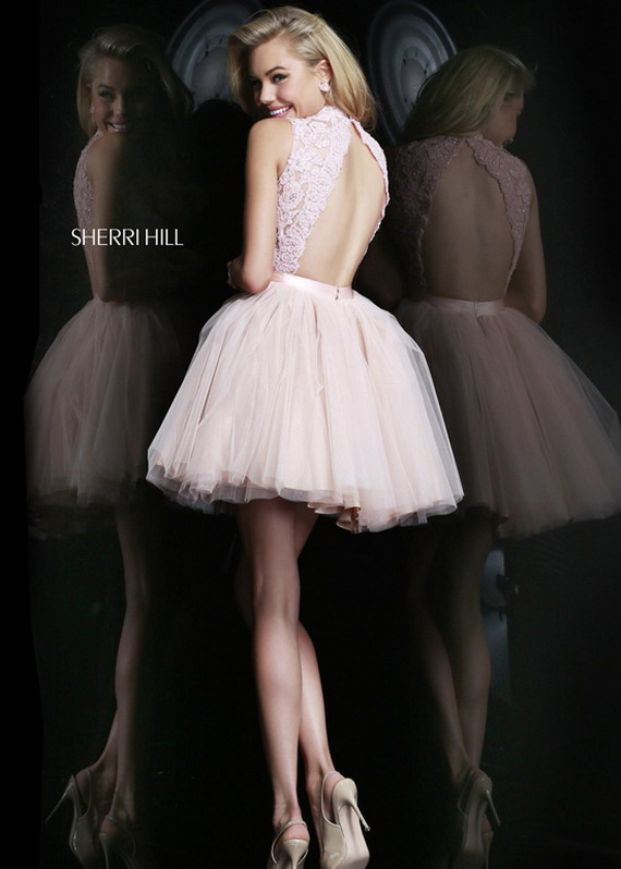 White Lace High Neck Short Sherri Hill 21345 Tulle Cocktail Dress [Sherri Hill 21345 White] - $252.00 : Prom Dresses 2014 Sale, 70% off Dresses for Prom