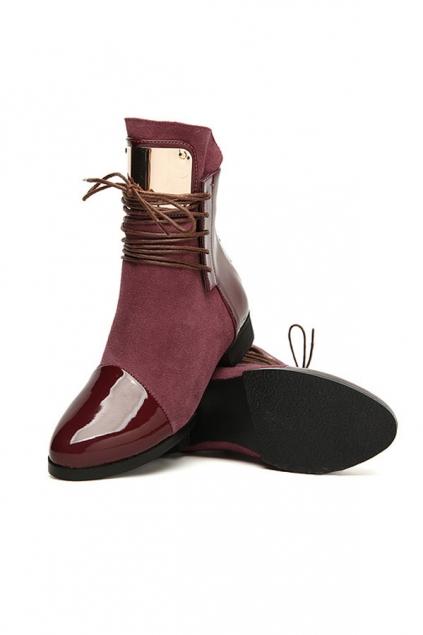 Color Block Lace-up Patent Leather Boots - OASAP.com
