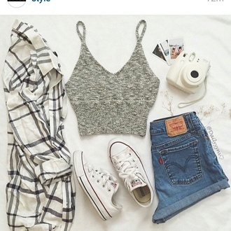 top grey summer perfect outfit crop tops shirt tank top knitwear t-shirt style fashion cute top dress jacket shorts cardigan knitted crop top flannel converse cut off shorts crop tops high waisted shorts flannel shirt white converse