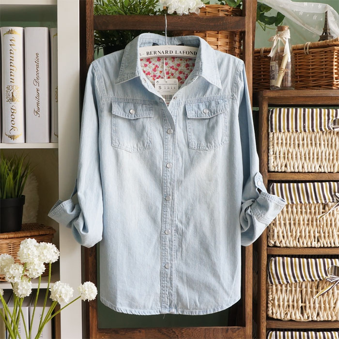 Free shipping Summer 2013 women's casual sleeve length light blue denim shirt-inDenim Clothings from Apparel & Accessories on Aliexpress.com