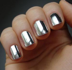 16pcs Silver Nail Art Patch Foils Metallic Look Tips Wraps Minx Like USA Seller | eBay