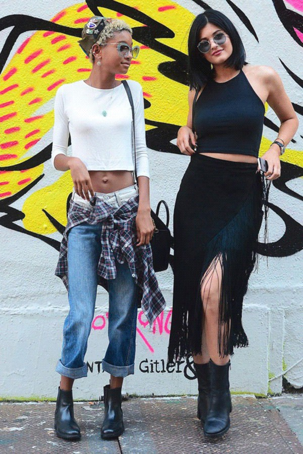 jeans willow smith kendall and kylie jenner kylie jenner top skirt