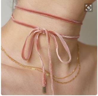 jewels jewelry necklace velvet pink blush choker necklace pink choker velvet choker wrap choker pretty layered