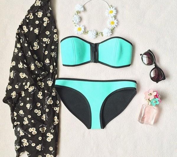 swimwear blue black