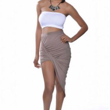 Tan Overlap Skirt on Wanelo
