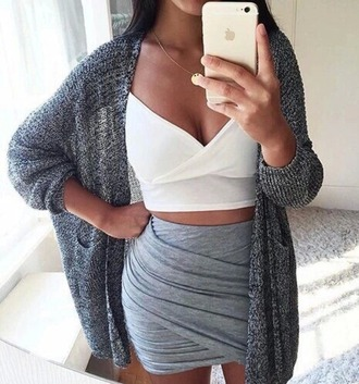 skirt crop tops cute lovely hot sexy girly girl women nice beautiful pretty body party love jewels jacket oversized cardigan cardigan sweater sweater weather winter outfits fall outfits spring summer outfit outfit idea classy classy dress fabulous celeb body goals grey sweater mini skirt blouse whole outfit back to school white crop tops grey skirt grey cardigan