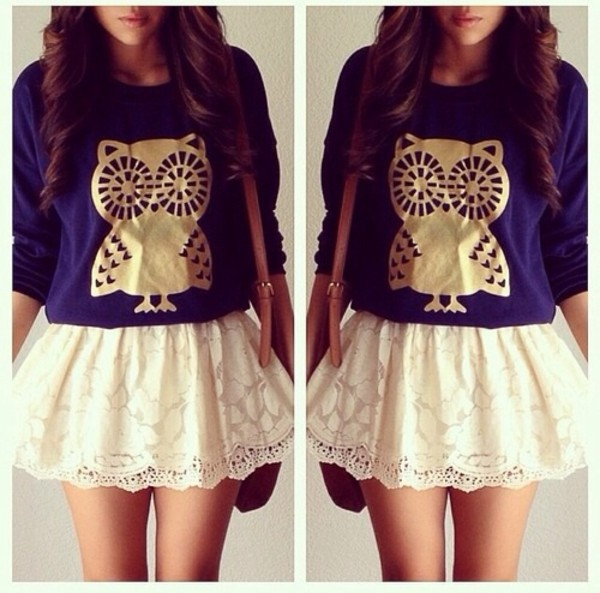 sweater skirt white lace navy owl gold long sleeves bag brown blouse shirt t-shirt blue sweater cute...