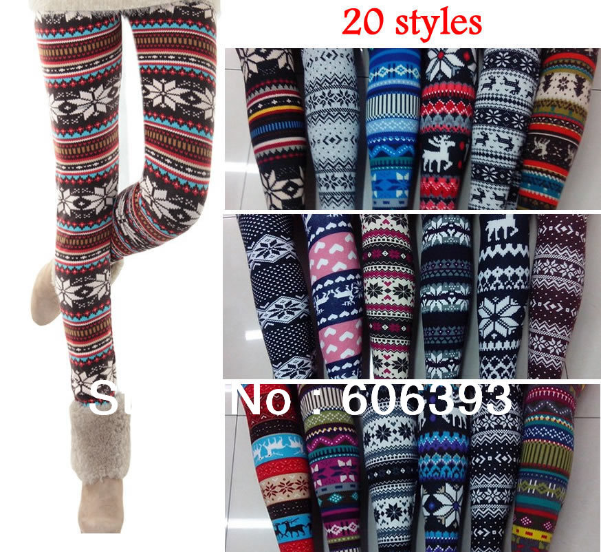 2013 New Fashion Women's snow Christmas tree patterned Snow Leggings Lady Slim pants f boot autumn & winter free shippig-in Socks & Hosiery from Apparel & Accessories on Aliexpress.com
