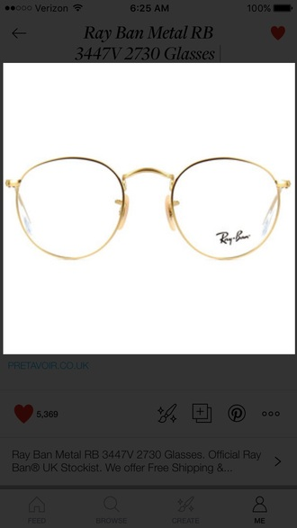 sunglasses gold clear gold frame glasses basic glasses cute rayban