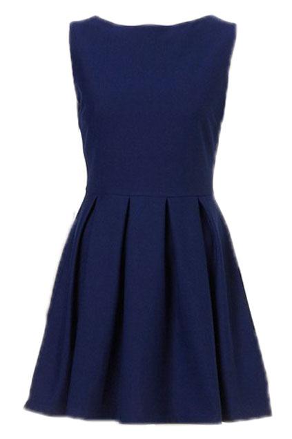 ROMWE | Sleeveless Pleated Zippered Deep Blue Dress, The Latest Street Fashion