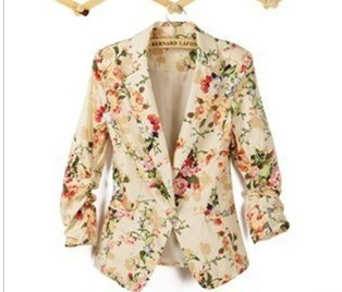 2013  new autumn ladies jacket  floral long slim  suit for women-in Basic Jackets from Apparel & Accessories on Aliexpress.com