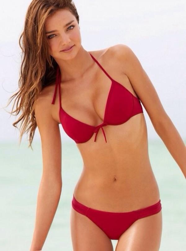 swimwear bikini red miranda kerr beautiful