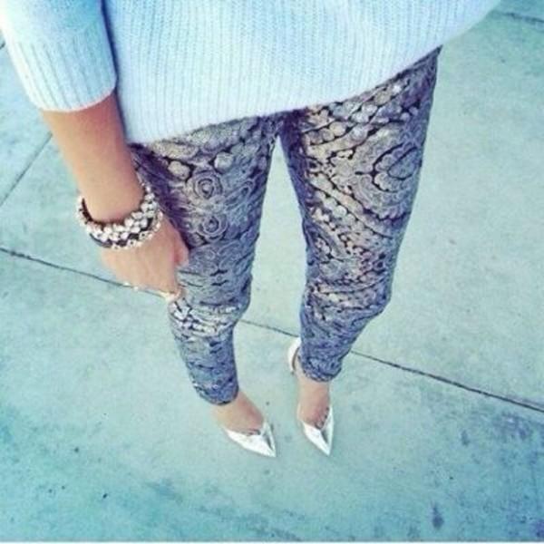 pants barock metallic