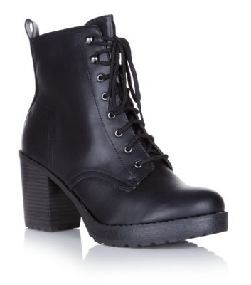 Black Chunky Lace Up Heeled Work Boots