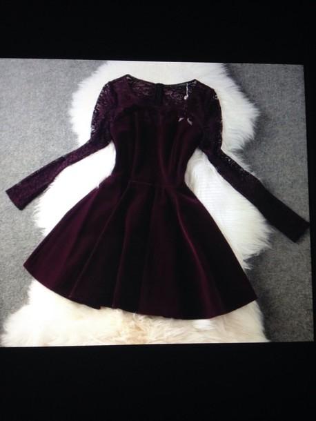 dress velvet lace dress long sleeve dress velvet dress burgundy short dress burgundy burgundy dress
