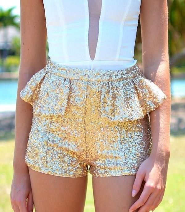 shorts gold shorts white sheer shirt