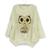 Korean Women Fashion Loose Round Collar Long Sleeve Owl Pattern Sweater Blouse Tops