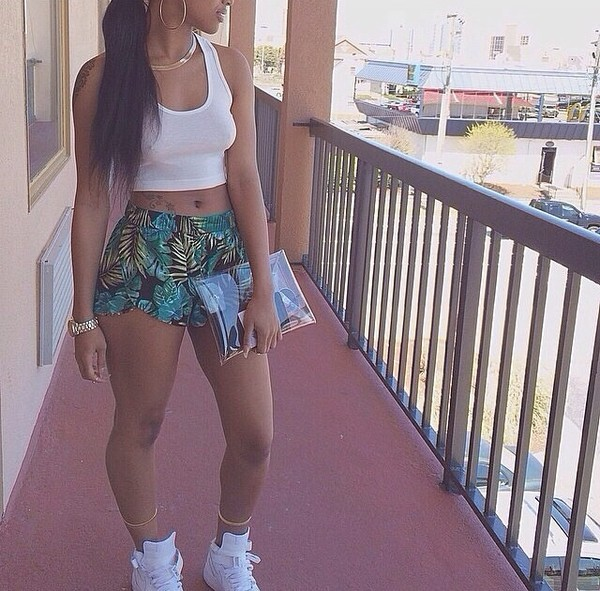 shorts tank top bag top shoes jewels palm tree print boxershorts tropical summer leaves green flowers plants style print