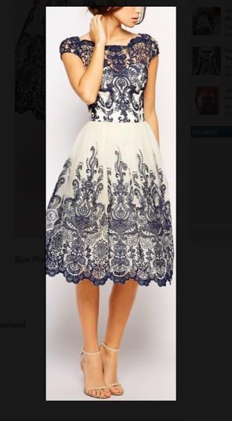 dress lace dress blue dress white dress navy white printed tights vogue blouse