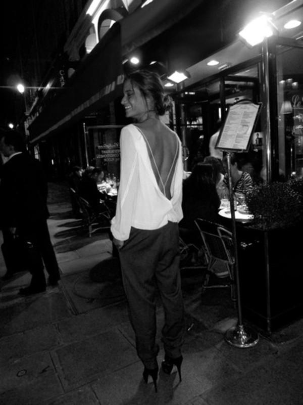 blouse white blouse white open back dress tan summer black pants black pants pretty girl pretty girl top shirt fendi louis vuitton clutch bag michael kors victoria's secret high heels white blouse backless
