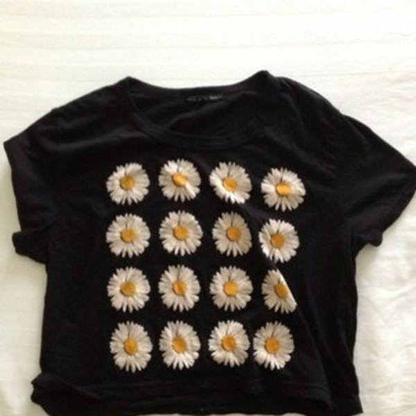 shirt black daisy top daisy daisies top daisy yellow floral floral tumblr hipster