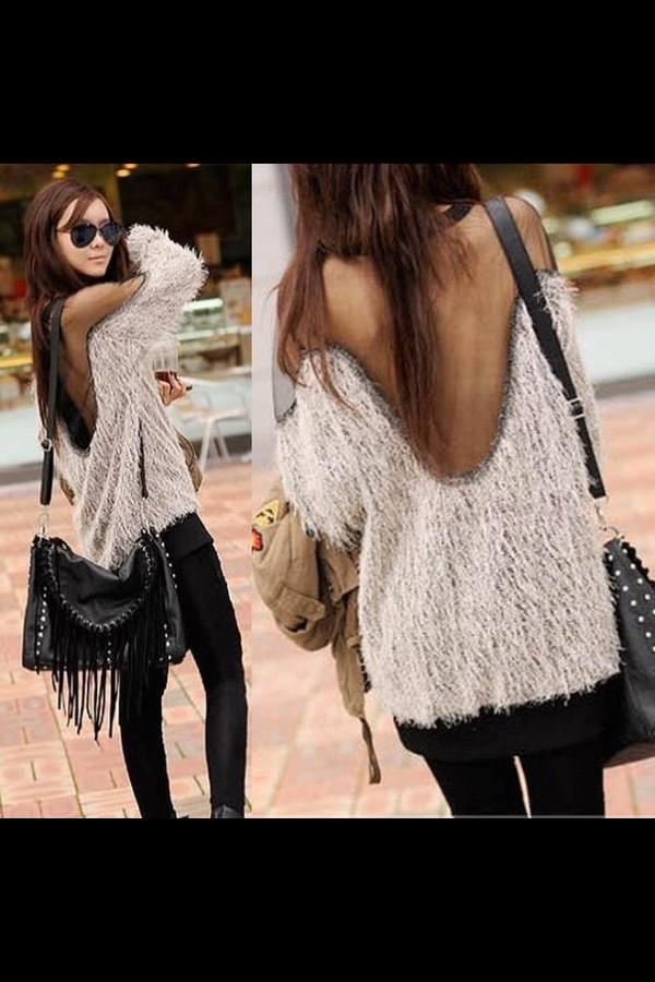 bag franges pullover sweater