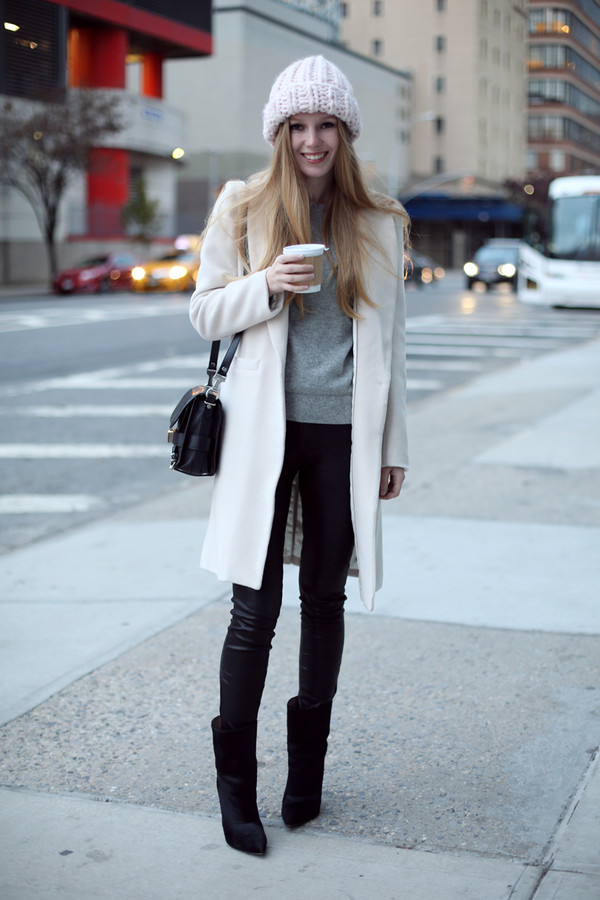 hat coat sweater jeans bag shoes