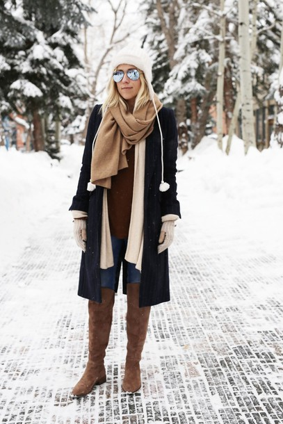 damsel in dior blogger sweater hat jeans scarf shoes cardigan coat