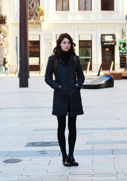 mes memos blogger sweater charcoal winter coat skirt coat scarf