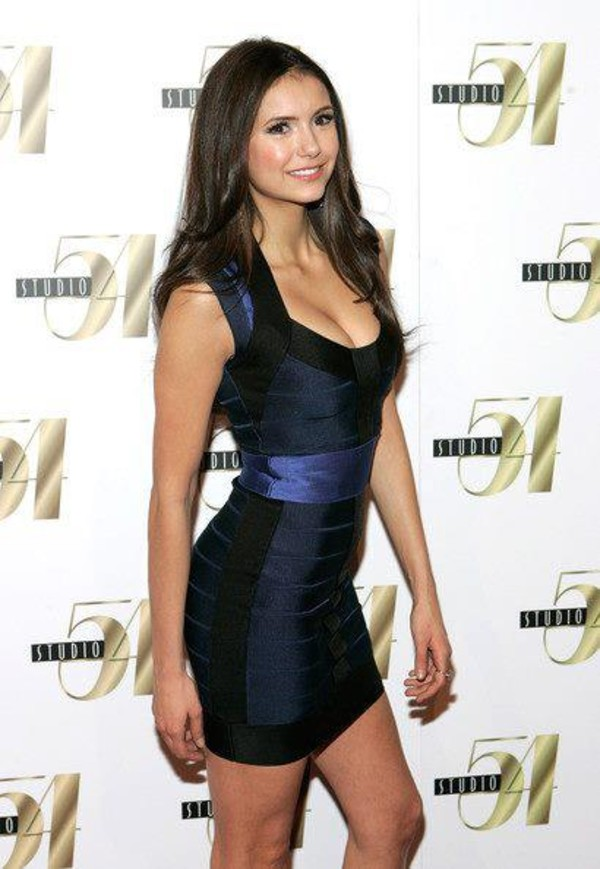 dress mini dress black blue celebrity the vampire diaries nina dobrev navy black blue bandage dress