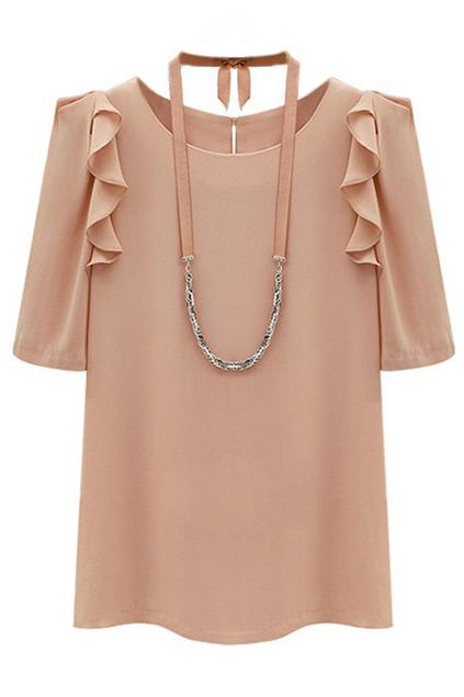 ROMWE   Romwe Floucing Pink Chiffon Blouse, The Latest Street Fashion
