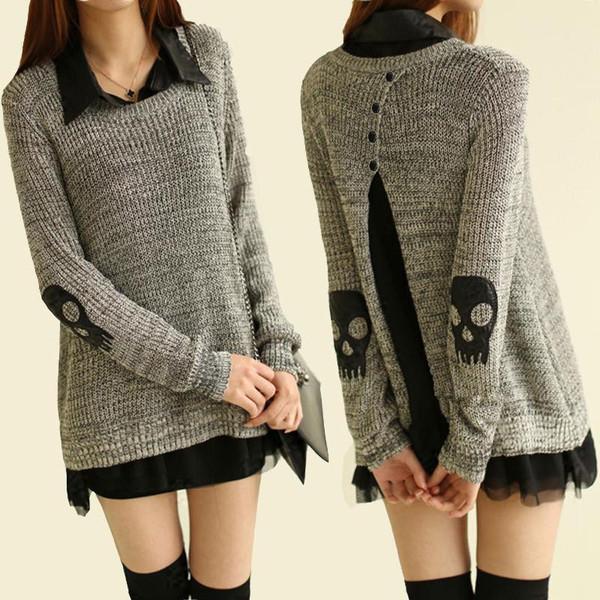 sweater skull fashion dress grey sweater grey black asian fashion