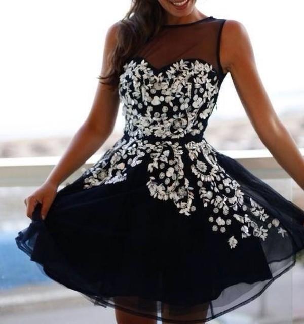 dress black strass navy prom girl fashion glamour cute cute dress prom dress girly little black dress silver glitter short transparent