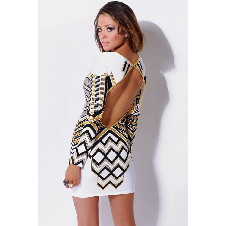 white/metallic gold tribal print long sleeve fitted backless mini dress -AFFORDABLE SEXY PARTY DRESSES, CLUBWEAR 21