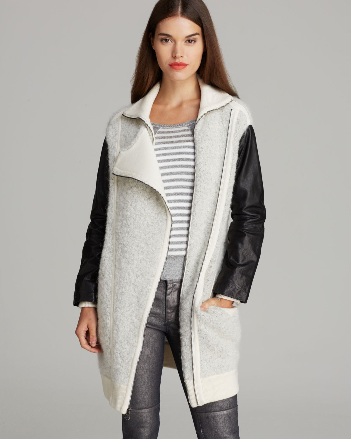 MARC BY MARC JACOBS Sweater Coat - Nessi Leather Sleeve   Bloomingdale's